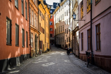 The colorful houses in Gamla Stan